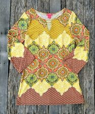 Sunny Leigh Women's Tunic Top Sz. S Yellow Floral Gold Clasp Blouse Stretch BOHO