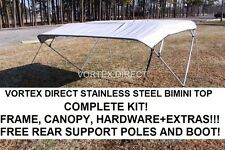 "NEW GREY/GRAY VORTEX STAINLESS STEEL FRAME BIMINI TOP 8 FT LONG, 97-103"" WIDE"