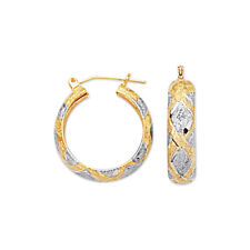 Textured Diamond Cut  Hoop Earrings Real 10K Yellow White Two-Tone Gold