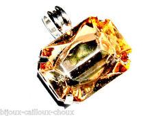 Pendentif plaqué argent rectangle cristal orange saumon bijou pendant