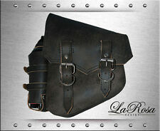La Rosa Rustic Black Leather Sharp Flap HD Softail Left Saddle Bag + Fuel Bottle