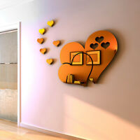 3D Mirror Love Hearts Wall Sticker Decal Removable For Living Room Home De RR