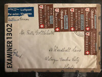 1942 Ascuna Switzerland Airmail Censored Cover to England