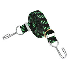 Flat Elastic Cord with Hook 1.5M x 25mm Latex PP, Green and Black, 1 PCS