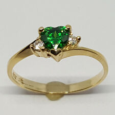 14K solid yellow gold 5mm Emerald heart shape faceted, white Topaz ring, size 7