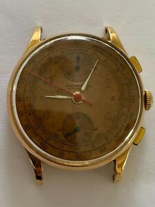 Chronographe Suisse Antimagnetique Solid Gold 18K Watch Vintage, Antique Men's