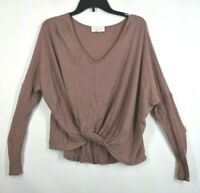 Lavender Field Womens Tie Knot Front Pink Long Sleeve Crew Neck Blouse Top S