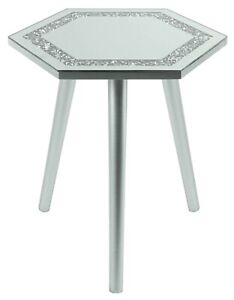 40cm Hexagon Glass Coffee Table Side Table Crushed Mirrored Glass Table