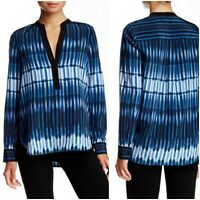 VINCE Tie-Dye Striped Silk BlouseWomen's Top Sz 6 Blue Monaco Split Neck A4