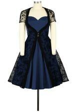 2 Piece Dress With Lace Overlay Rockabilly Retro 1950's Pin up UK 8 to 30 Plus 30 Blue