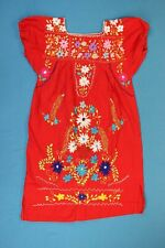 Vintage Women MEXICAN EMBROIDERED Dress Beautiful Long Folk Festival Boho