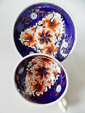 ANTIQUE GAUDY DUTCH CUP AND SAUCER IMARI COLORS COBALT BLUE RUST RED FLOWERS