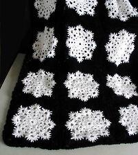 "NEW Black & White Snowflake AFGHAN Throw 55x72"" Acrylic Hand Crocheted FREE SH"