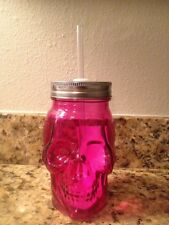 "Pink Skull Bone Face Glass Mason Jar Tumbler Lid Straw 6"" Tall GIFT NEW"