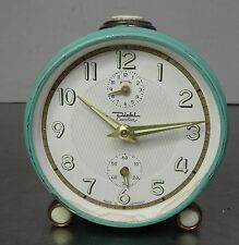VINTAGE ALARM CLOCK-età mintgrüner meccanica SVEGLIA DIEHL CAVALIER ~ 60er