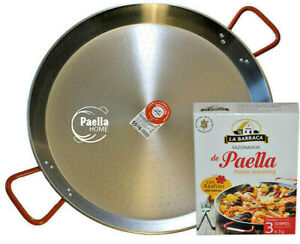 20cm - 34cm PAELLA PAN PROFESSIONAL POLISHED STEEL + AUTHENTIC SPANISH GIFT