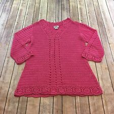 Lilly Pulitzer Sweater Womens Size Medium Pink Floral Crochet Tunic 3/4 Sleeve