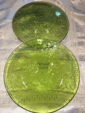 Set Of 2 Pottery Barn Luncheon Plates Green Monterey Glass New