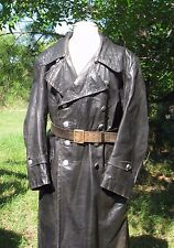 WW2 German Schutzpolizei  black leather  Overcoat sz 42 Large