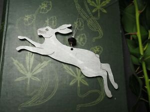 Small Leaping Silver Hare Altar Window Hanging Ornament - Pagan, Decoration