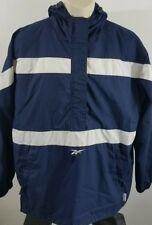 Reebok pullover windbreaker half-zip blue and white stripe 499