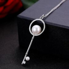 Holiday Huge Key Design Natural White Pearl Gemstone Silver Necklace Pendants