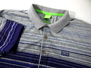 Hugo Boss Mens Polo Golf Shirt M Paddy 3 Modern Grey Purple Striped Short Sleeve