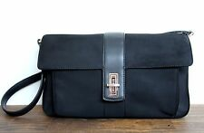 DKNY CITY DONNA KARAN NY BLACK NYLON FABRIC BAGUETTE SHOULDER BAG HANDBAG PURSE