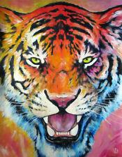 Peinture animaux TIGRE Arc-en-ciel déco murale maison Art Rainbow tiger colorful