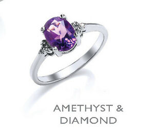 Amethyst and Diamond Ring Solid Sterling Silver Platinum Plated Solitaire