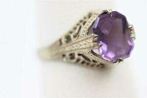 OSTBY BARTON ART DECO 14K SOLID WHITE GOLD FANCY FILIGREE 1.50CT AMETHYST RING