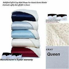 Biddeford Soft & Cozy Mink Sherpa Fur Dual Control Heated electric blanket Queen