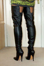 "Stunning LEATHERWORKS 6"" High Heel Black Leather Thigh Boots UK 11 45 13 Fetish"