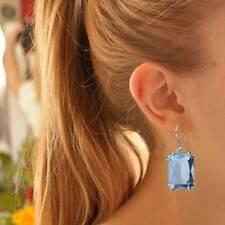 Vintage Aquamarine Dangles Earrings for Women Silver Romantic Wedding Jewelry