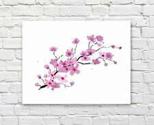 "Cherry Blossoms Art Print Watercolor 11"" x 14"" Painting by Artist DJR"