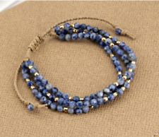GEMSTONE Beaded Cord Triple Wrap FRIENDSHIP BRACELET Sodalite Blue Stackable