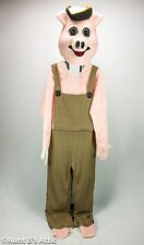 Pig Mascot Costume 4 Piece Pink Faux Fur & Brown Plaid Suit Mitts & Head Lg/Xl
