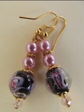 1920's Style Pink and Black Bead Drop Earrings   A007
