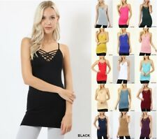 ZENANA SEAMLESS TRIPPLE CRISS CROSS CAGED  LONG CAMISOLE TANK TOP REG PLUS S-3X