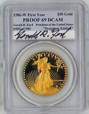 Rare 1986 $50 American Eagle Gold Coin PCGS President Edition #500/500