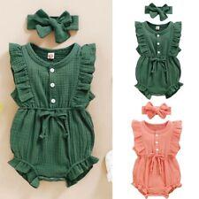Infant Baby Kids Girls Sleeveless Ruffle Button RomperBodysuit+Headband Outfits