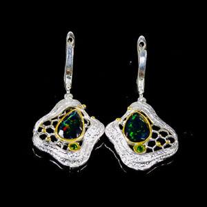 12x8mm Rainbow SET Black Opal Earrings Silver 925 Sterling   /E52268