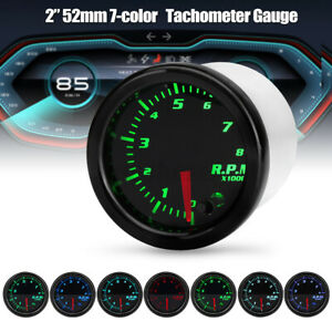 "Universal 2"" 52mm Car Tacho Tachometer RPM Gauge Meter 7 Color LED Tinted"
