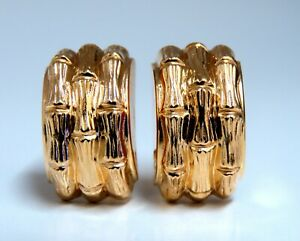 14kt Gold Textured Three Row Bamboo Staggered Clip Earrings