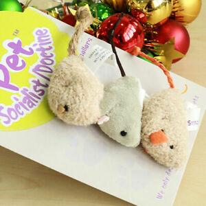 3pcs Practical Pet Toys Mouse Cat Toys Flocking Simulation Squeak Sound Rat ZP