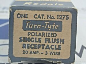 RODALE 1275 TURN TYTE SINGLE FLUSH RECEPTACLE 20AMP 250V 3 WIRE NEW LOT OF 2