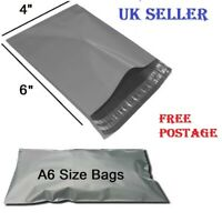 """10 x Grey Mailing Bags Plastic Mail Post Postage Polythene Strong Seal4"""" x 6"""""""
