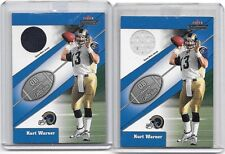 KURT WARNER 2002 FLEER THROWBACK QB COLLECTION GAME USED JERSEY