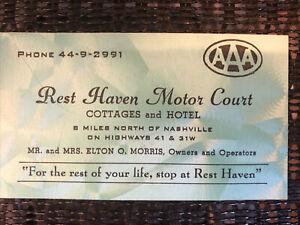 Rest Haven Motor Court Hotel Cottages AAA vintage 1950 business card Nashville