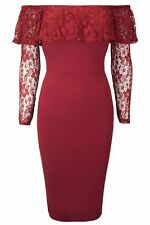 Womens Ladies off Shoulder Lace Peplum Ruffle Frill Bardot Bodycon Midi Dress Plus Size UK 18 Wine - Cocktail Evening Nightout Dinner Clubbing